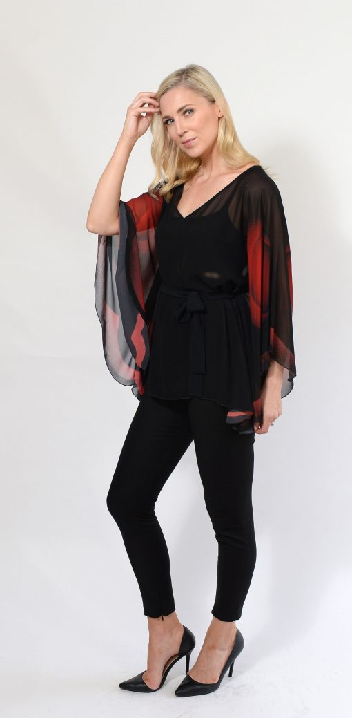 Black and Red Winged Top