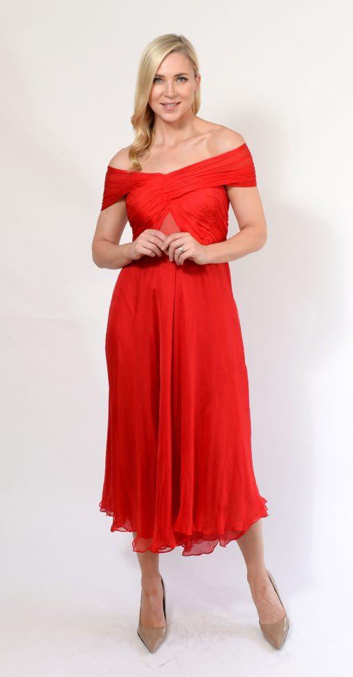 Red Off Shoulder Dress
