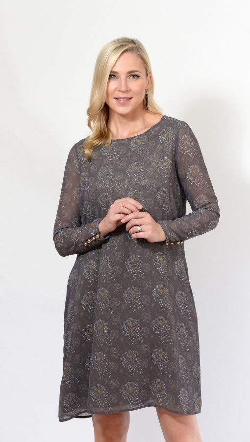 Grey Pattern Shift Dress