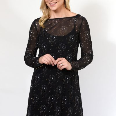 Black Pattern Tea Dress