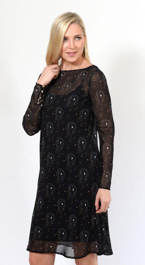 Black Pattern Tea Dress