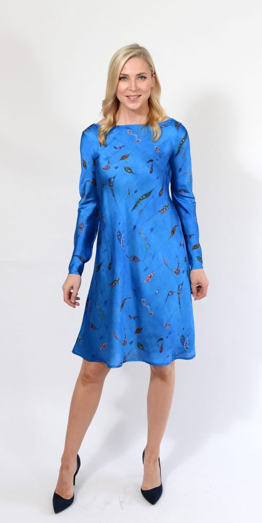 Blue Pattern Silk Dress