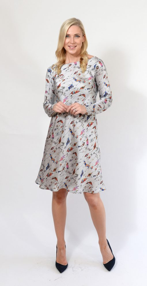Silver Pattern Silk Dress